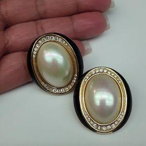 Christian Dior Vtg Oversized Faux Pearl Earrings